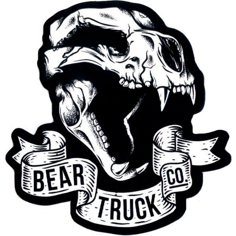 Bear Grizzly Skull Logo Sticker - Black