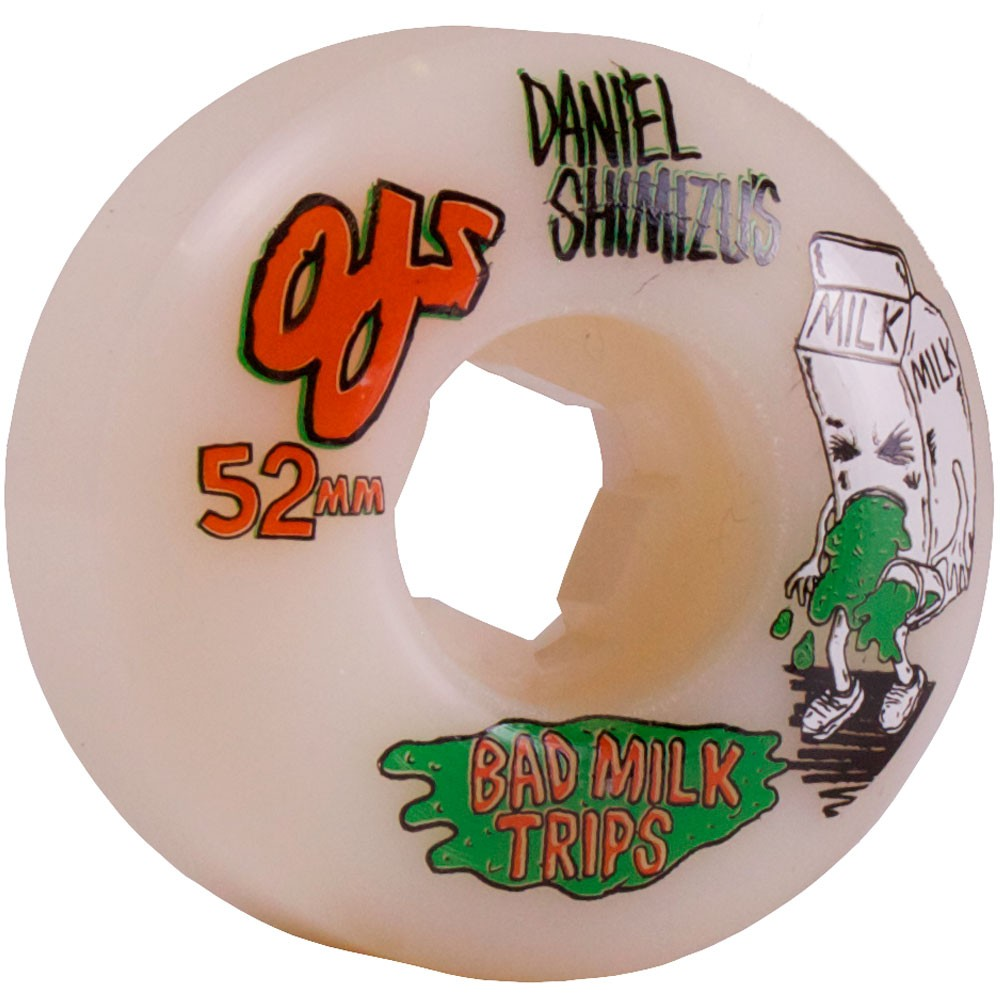 OJ Daniel Shmizu Bad Milk Trips Skateboard Wheels 52mm 101a - White