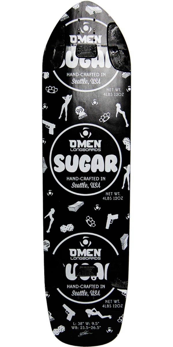 Omen Sugar Longboard Skateboard Deck - Black
