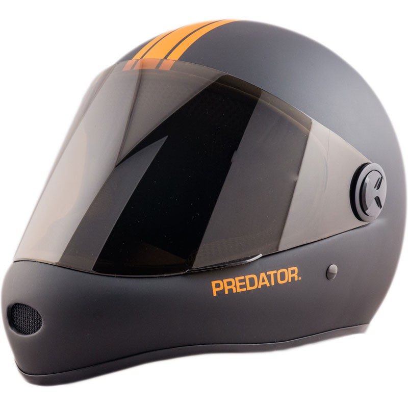 Predator DH6 Full Face Race Helmet - Matte Black with Orange Stripes