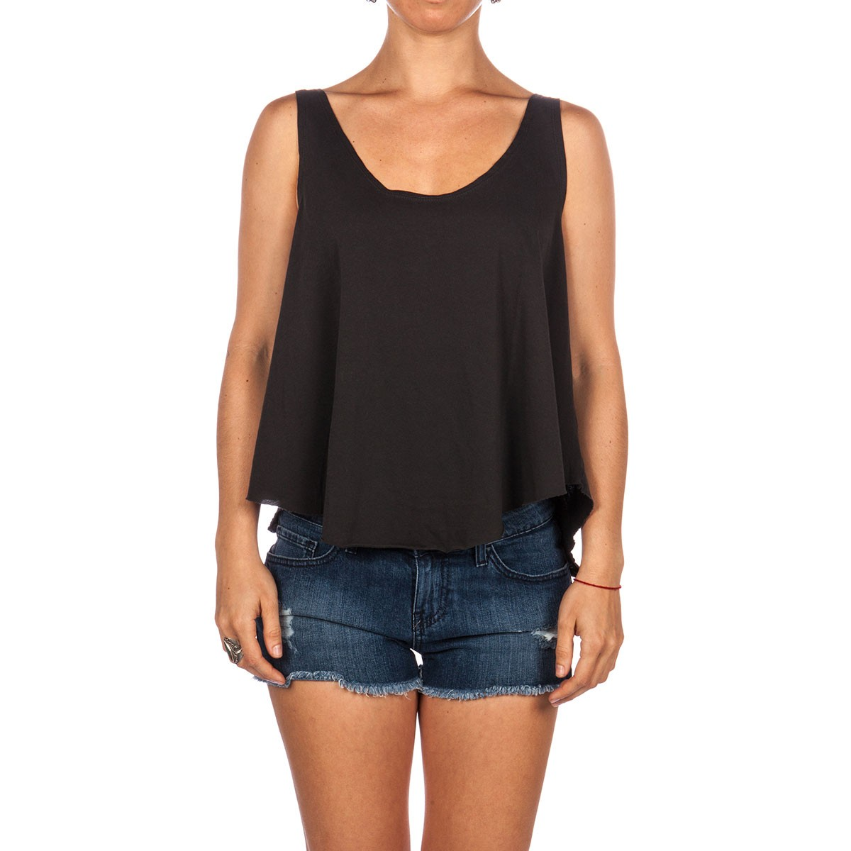 RVCA Label Drape Tank Top - Black Haze