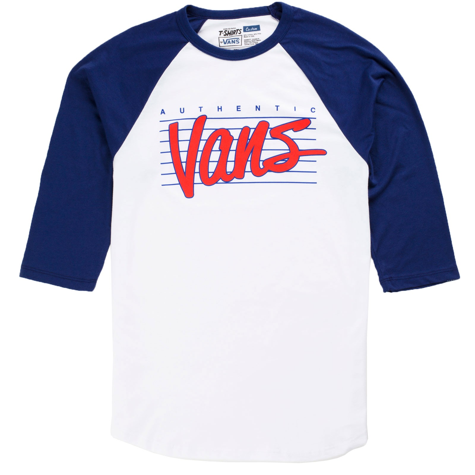 Vans Authentic Raglan Youth T-Shirt - White/Blueprint