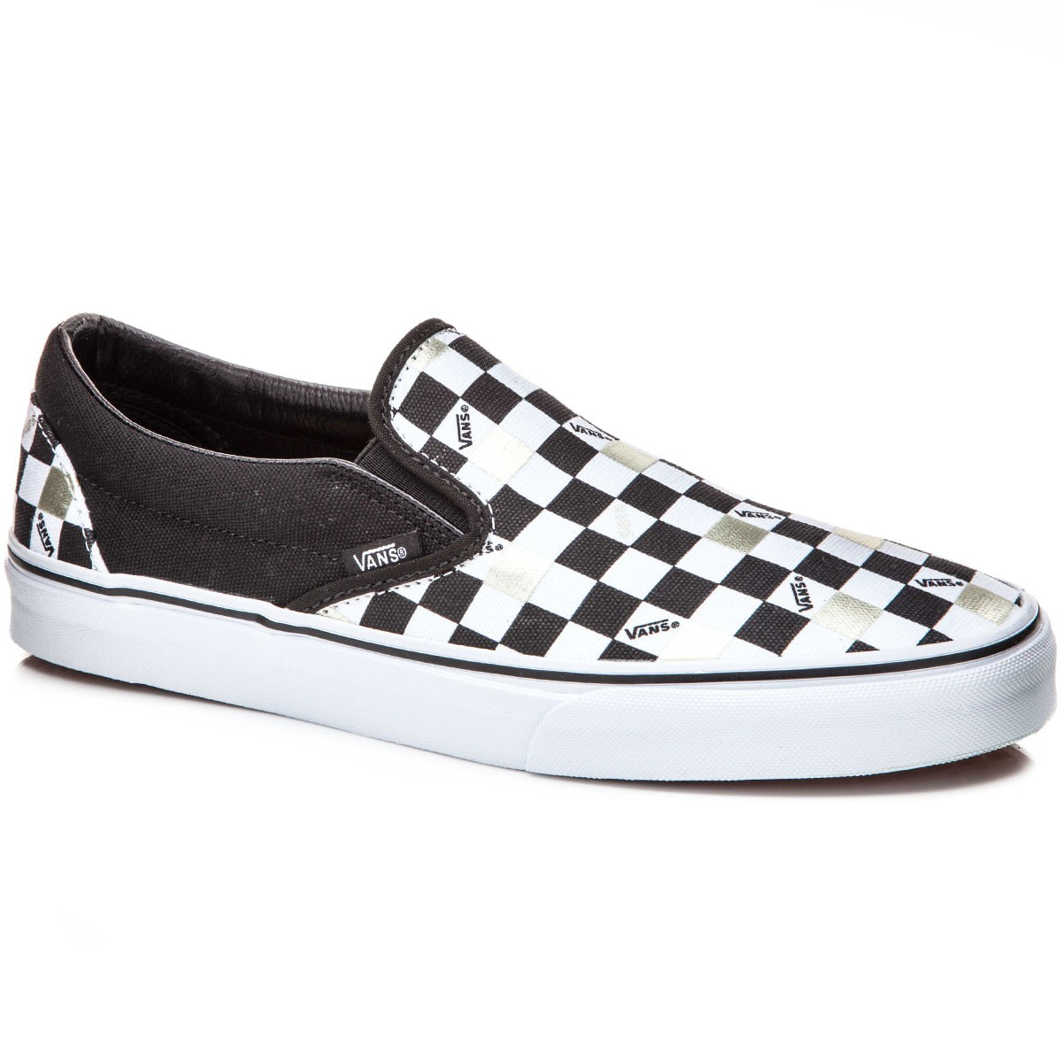 Vans Classic Slip-On Shoes - Black/Gold Checker - 8.0