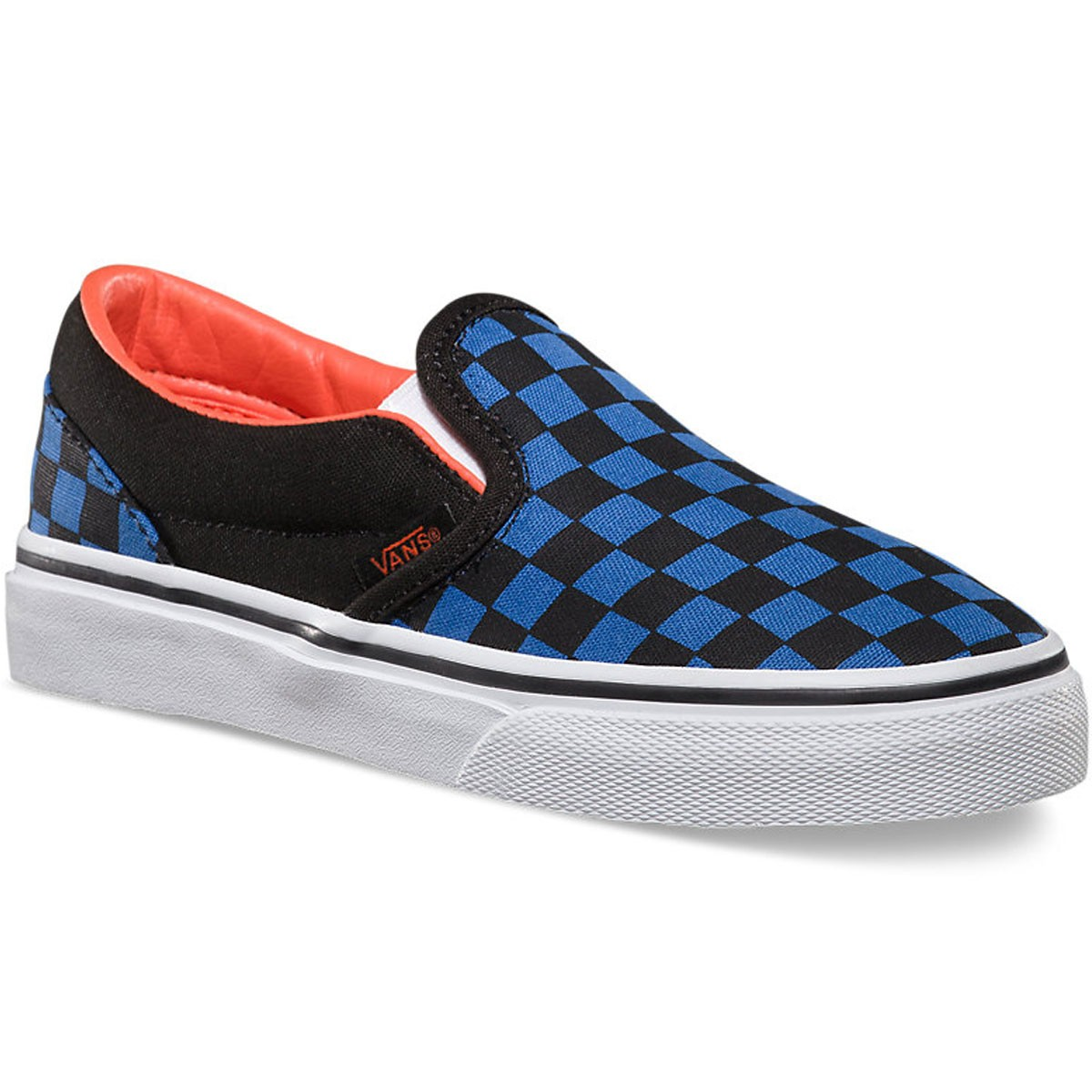 Vans Classic Slip On Youth Shoes - Checkerboard/Black/Blue - 4.0