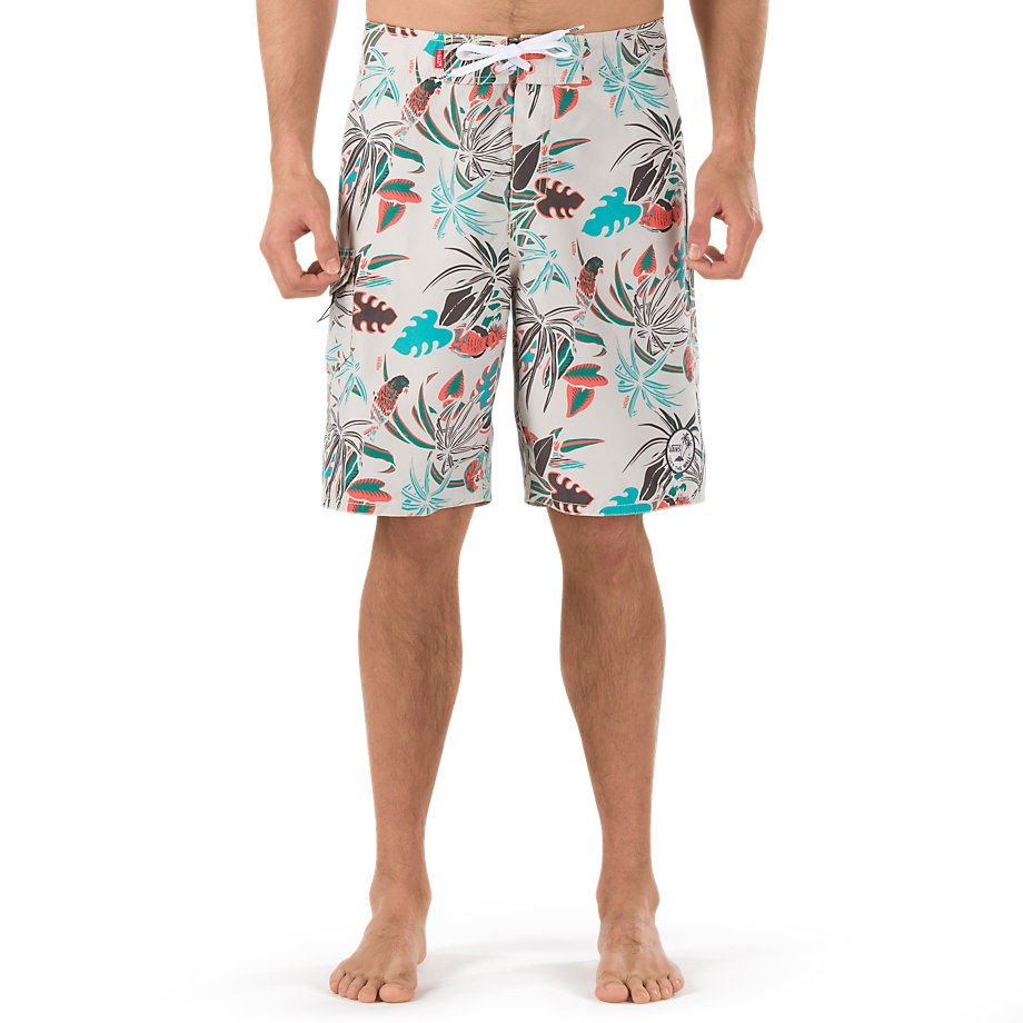 Vans Off the Wall Boardshorts - Bone White/Parrot Print