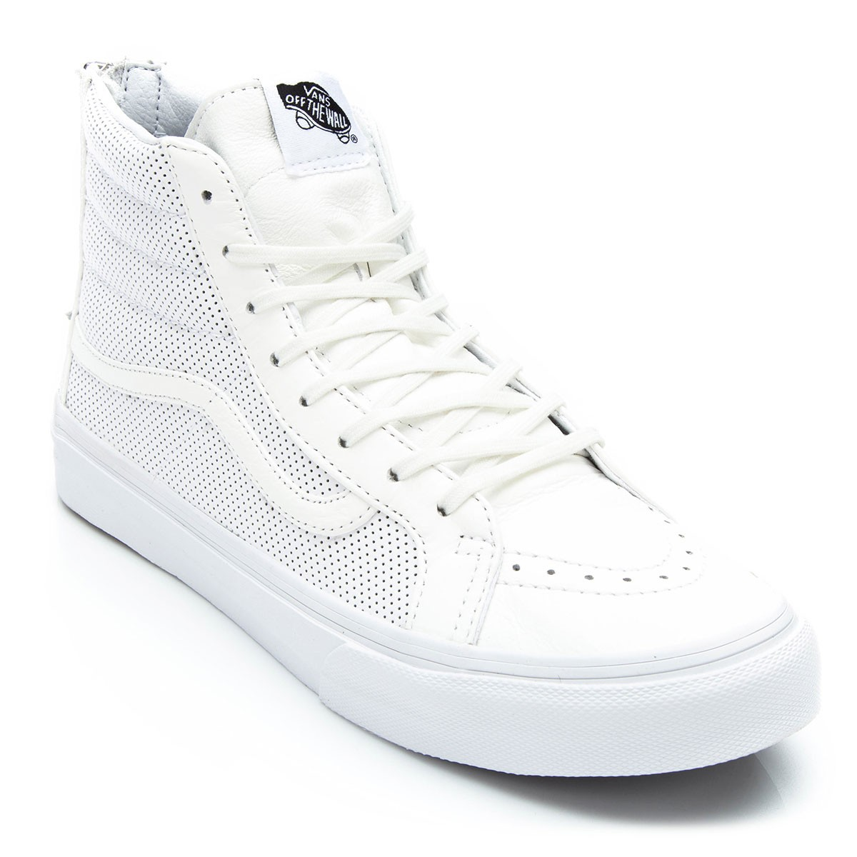 025a58e379 Vans SK8-HI Slim Zip Perforated Leather Shoes - True White - 4.5