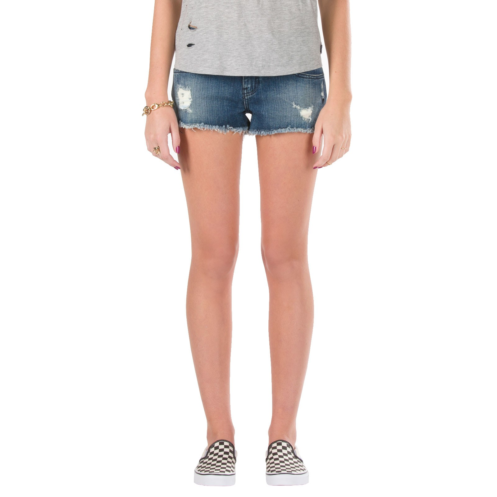 Vans Women's Destroyed Mini Jeans Shorts - Indigo Destroyed