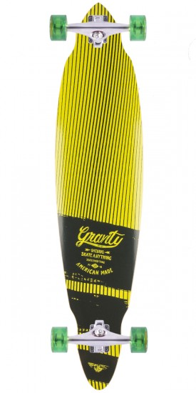 """Gravity 40"""" Visions Pintail Longboard Complete - Yellow"""