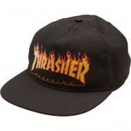Thrasher Flame Snapback Hat - Black