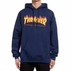 Thrasher Flame Hoodie - Navy