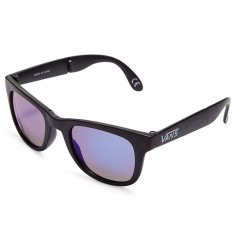 Vans Foldable Spicoli Sunglasses - Matte Black/Purple Blue Mirror