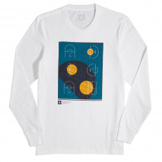 Adidas Courts Long Sleeve T-Shirt - White/Real Teal/Tactile Yellow