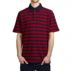 Vans Chima Striped Polo Shirt - Chili Pepper/Dress Blues