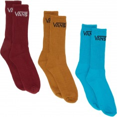 Vans Classic Crew 3 Pack Socks - Tile Blue Assorted