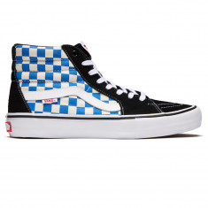 Vans Sk8-Hi Pro Shoes - Black/Victoria Blue Checkerboard