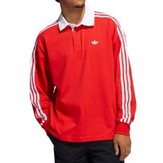 Adidas Solid Rugby Jersey - Vivid Red/White