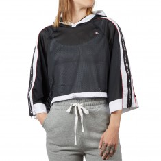 Champion Womens Hooded Cropped Mesh Shirt - Black