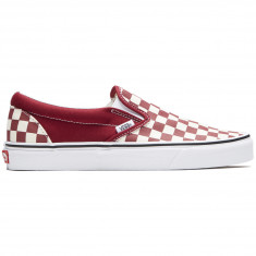 Vans Classic Slip-On Shoes - Checkerboard Rumba Red/True White
