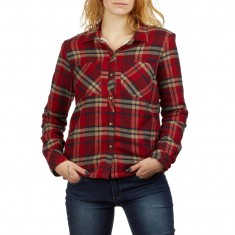 Volcom Womens Plaid About You Long Sleeve Shirt - Deep Red