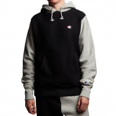 Champion Reverse Weave Colorblock Pullover Hoodie - Black/Oxford Grey
