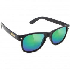 Glassy Leonard Sunglasses - Matte Black/Green Mirror