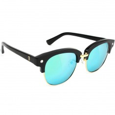 Glassy Carrie Polarized High Roller Sunglasses - Black/Blue Mirror