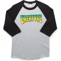 Creature Logo Raglan 3/4 Sleeve T-Shirt - Athletic Heather/Black