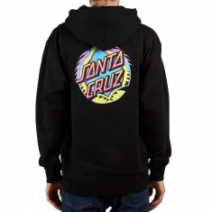 Santa Cruz Neon Dot Zip Up Hoodie - Black
