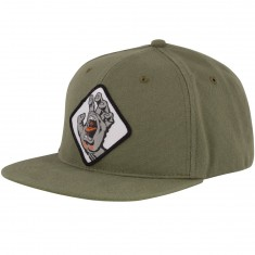 Santa Cruz Screaming Hand Badge Snapback Hat - Light Olive