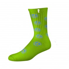 Psockadelic Peace Sign Socks - Green/Blue