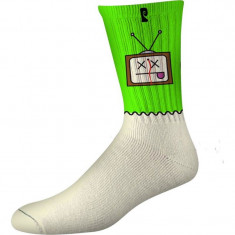Psockadelic Dead TV Socks - Green/Glow
