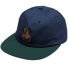 Good Worth Scorpion 6 Panel Strapback Hat - Navy/Hunter
