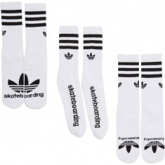 Adidas Skateboarding 3 Pair Crew Socks - White/Black