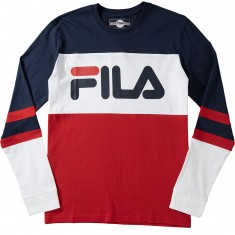FILA Dylan Long Sleeve T-Shirt - Navy/White/Chinese Red
