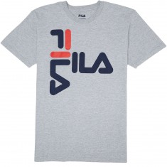 FILA Anthony T-Shirt - Heather Grey/Navy/Chinese Red