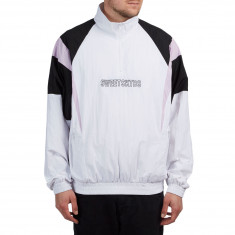 Sweet Woven Turtle Zip One Line Track Jacket - White/Black/Lilac