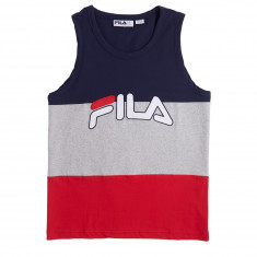 FILA Tai Logo Tank Top - Peacoat/Light Grey Marl/Chinese Red