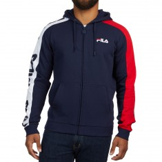 FILA Stan Full Zip Hoodie - Peacoat/Chinese Red/White
