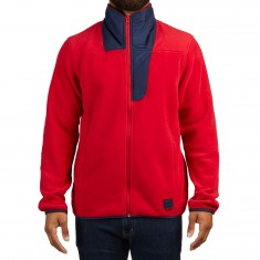 Herschel Zip Up Sweatshirt - Red/Peacoat