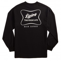 Beer Savage High Life Long Sleeve T-Shirt - Black