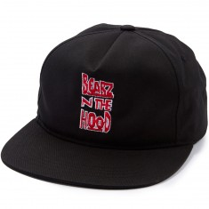 Grizzly Bearz N The Hood Snapback Hat - Black