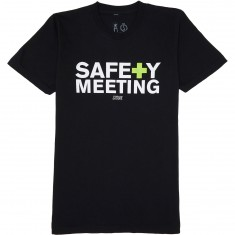 Casual Industrees Safety Meeting Text T-Shirt - Black