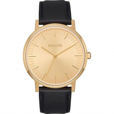 Nixon Porter Leather Watch - All Gold / Black