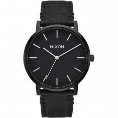Nixon Porter 35 Leather Watch - All Black/Silver