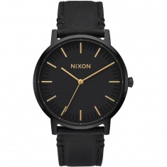 Nixon Porter 35 Leather Watch - All Black/Gold