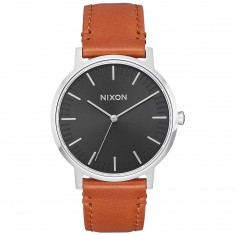 Nixon Porter 35 Leather Watch - Black/Saddle