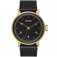 Nixon Stark Leather Watch - All Black/Gold