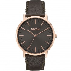 Nixon Porter Leather Watch - Rose Gold/Gunmetal/Surplus