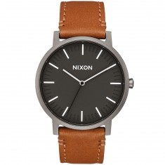 Nixon Porter Leather Watch - Gunmetal/Charcoal/Taupe