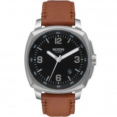 Nixon Charger Leather Watch - Black/Saddle